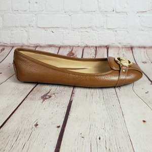 MICHAEL KORS MOCCASIN BROWN TAN LEATHER FLATS